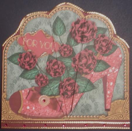 Pink Roses Glitter Shoes Ornate Scallop Deco Stacker in Card Gallery