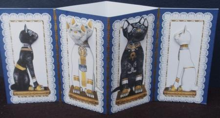 Egyptian Cats with Nodding Heads Blue Diamond Fold Card in Card Gallery