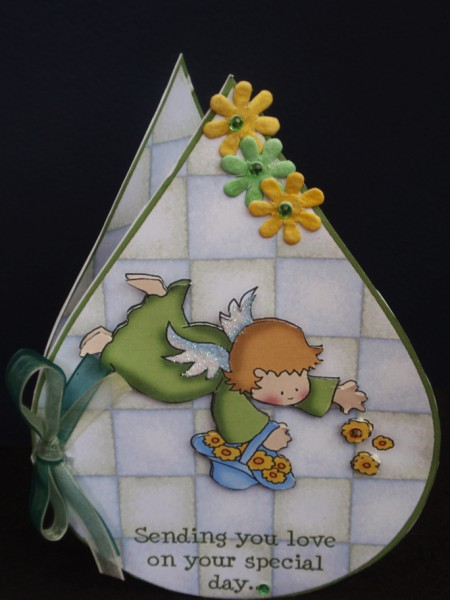 Cute Green Flower Fairy Tear Drop Card in Card Gallery