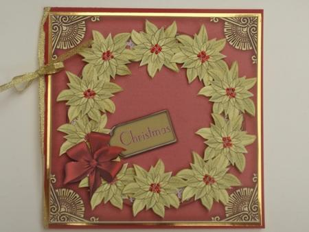 Red Gold Poinsettias Decoupage 3D Ring Sheet in Card Gallery