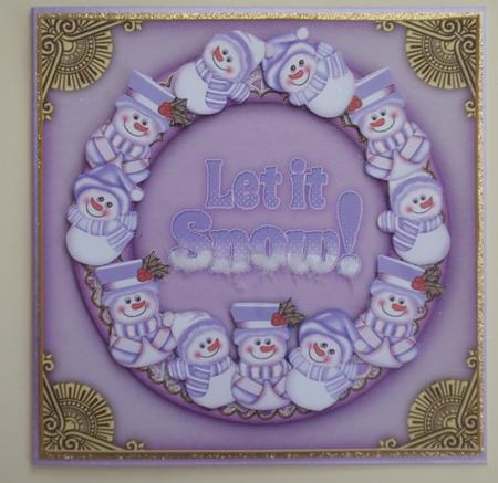 Lilac Snowman Let it Snow! Decoupage 3D Ring Sheet in Card Gallery