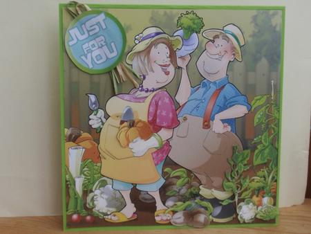 Gardening/allotment Couple 8x8 Card in Card Gallery