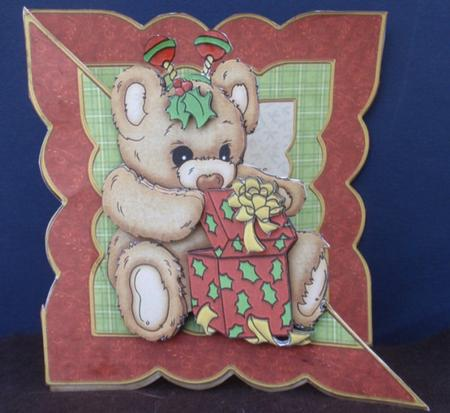 Beeny Bopper Bear Christmas Over the Edge in Card Gallery