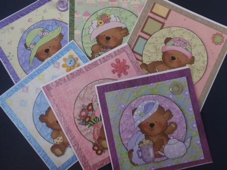 6 tea time bear toppers in Card Gallery