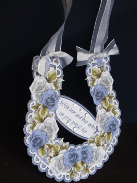 Blue and White Roses Keepsake Horseshoe or Toppers in Card Gallery