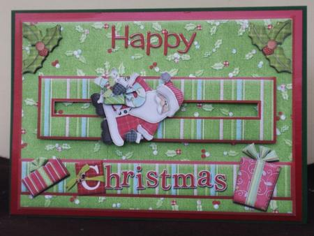 Happy Christmas Santa Penny Slider Card Front in Card Gallery