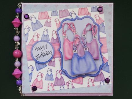 Bags of Fun - Handbag Decoupage Card - Blue, Purple & Pink in Card Gallery