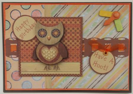 Hootie Owl Decoupage Card Front - Brown & Orange in Card Gallery