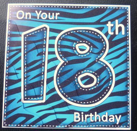 Funky Fun Zebra Print 18th Birthday Wavy Corner Side Stacker – Printable 18th Birthday Cards