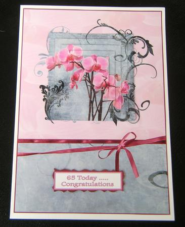 Card Gallery - Pink Orchid floral swirl pyramid