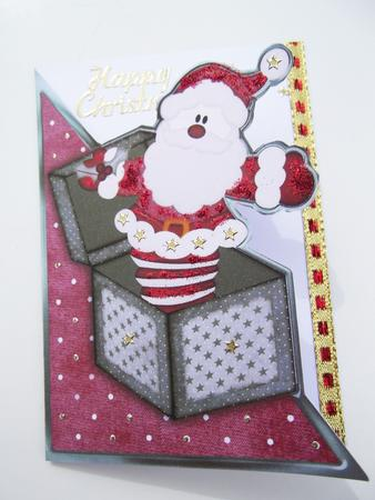 Card Gallery - Cut and Fold Christmas Santa-a-box in Red