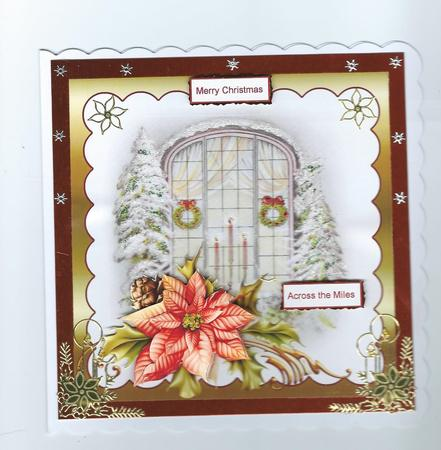 Card Gallery - Christmas window 6x6 card with decoupage