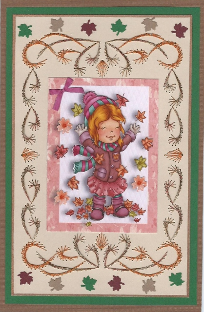 Card Gallery - Little Girl Playing in the Autumn Leaves