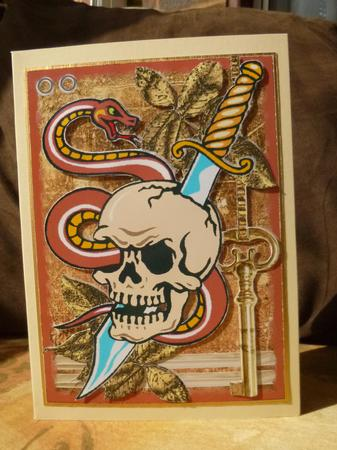 Card Gallery - Snake Entwined Skull Tattoo Art