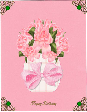 Pink Roses in a Vase Large in Card Gallery