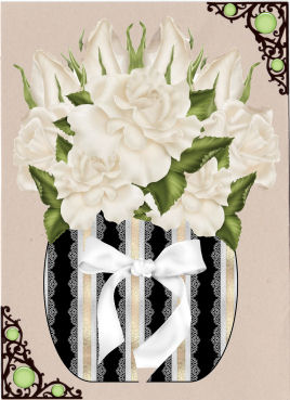White Roses in a Vase Large in Card Gallery
