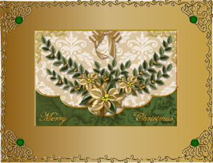 Gold Poinsettia Envelope Card Front in Card Gallery