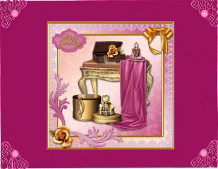 Gold And Pink Boudoir Card Front in Card Gallery