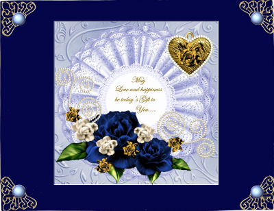 Bleu and Golden Beauty with verse and heartt in Card Gallery