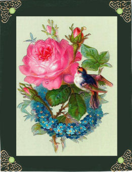 Pink Rose with Little Bird A4 Topper in Card Gallery