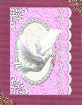 Beautiful White Dove in Flight in Pink Pearl Frame A4 in Card Gallery