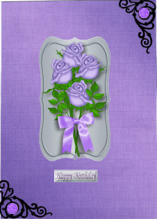 PRETTY ROSES WITH BOWS,. TOPPERS in Card Gallery