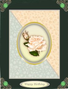 Peach Rose Card Front with Decoupage in Card Gallery