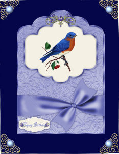 Bejewelled Scallop Top Card Fronts in Lilac and Blue in Card Gallery