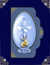 Card Gallery - Cross with Lily and Hearts Blue QS