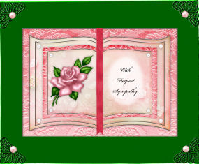 Card Gallery - Pink Rose - With Deepest Sympathy - Book Sheet