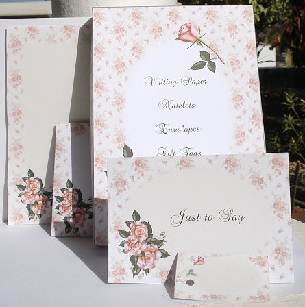 Card Gallery - Pink Roses Stationery Set