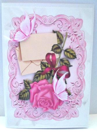 Card Gallery - PINK ROSE WITH LETTER