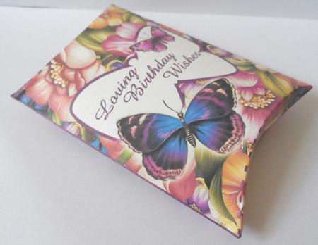 Birthday Pillow Box, Flowers & Butterflies in Card Gallery