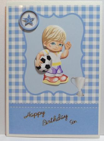 Little football boy card front with decoupage in Card Gallery