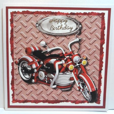 Red Motorbike quick card - dad, son, brother, in Card Gallery