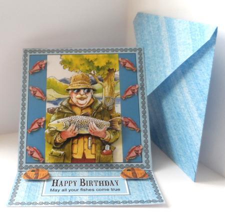 Fishing Fisherman Easel Card Sil Mac Cut Version Ks in Card Gallery