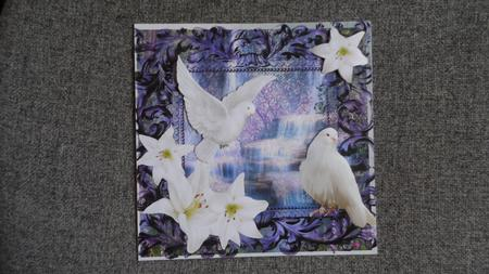 White Doves and Lilies with Waterfall 8x8 in Card Gallery