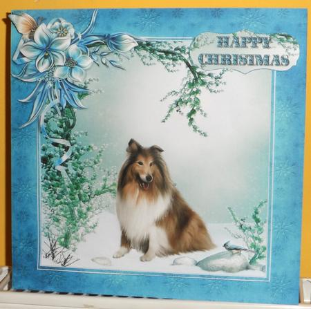 Christmas Rough Collie Dog Winter Scene Mini Kit in Card Gallery