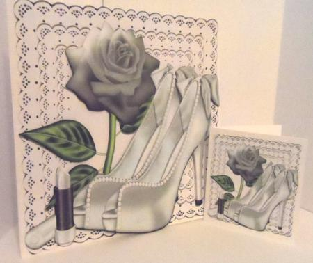 Pretty Silver and Pearl Shoes with Rose A4 in Card Gallery