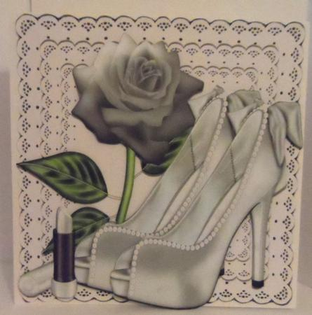 Pretty Silver and Pearl Shoes on Lace with Rose 8x8 in Card Gallery