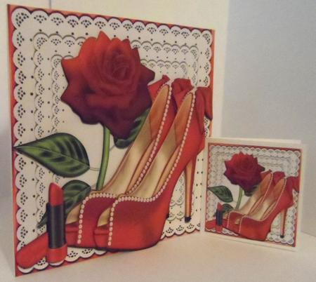 Pretty Red and Pearl Shoes on Lace with Rose A4 in Card Gallery