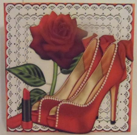 Pretty Red and Pearl Shoes with Bows on Lace with Rose 8x8 in Card Gallery