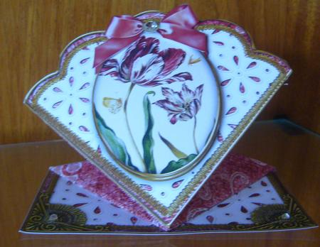 Red Tulips Anglaise Scallop Spring Decoupage Card in Card Gallery