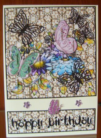 Flowers & Butterflies Loving Wishes Birthday Patchoupage in Card Gallery