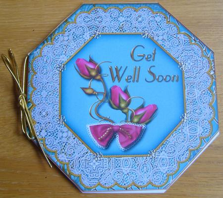 Card Gallery - Peacock Rose Get Well Soon Octagon Lace Picture Fold Card
