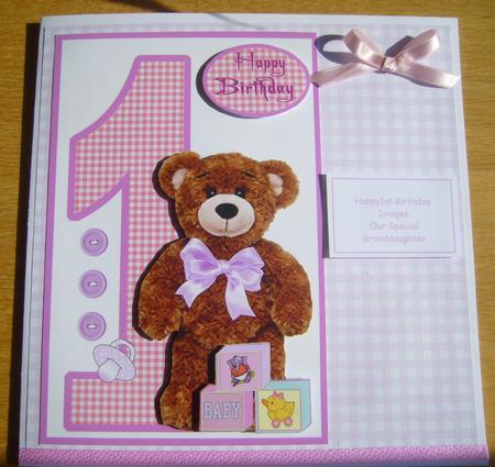 Birthday Bear (girl) 1 Year Old in Card Gallery