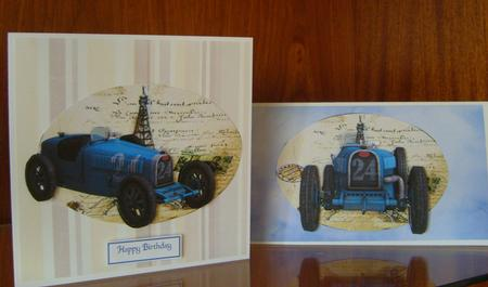 4 Blue Classic Racing Car Toppers 2 in Card Gallery