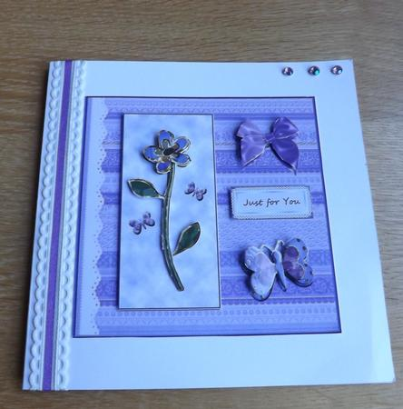 A Purple Flower and Butterflies in Card Gallery