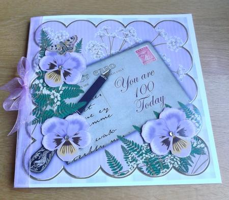 Lilac Pansy 100 Today 8in Scallop Decoupage Step by Step in Card Gallery