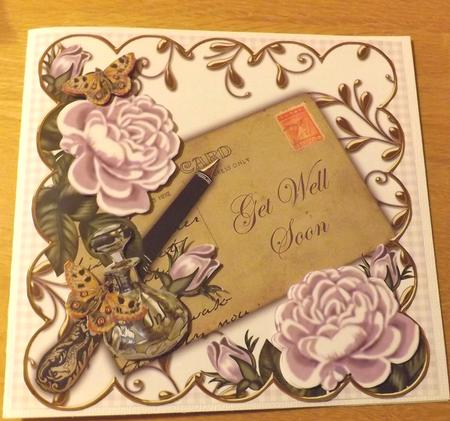 Lilac Roses Get Well Soon 8in Scallop Decoupage Topper in Card Gallery